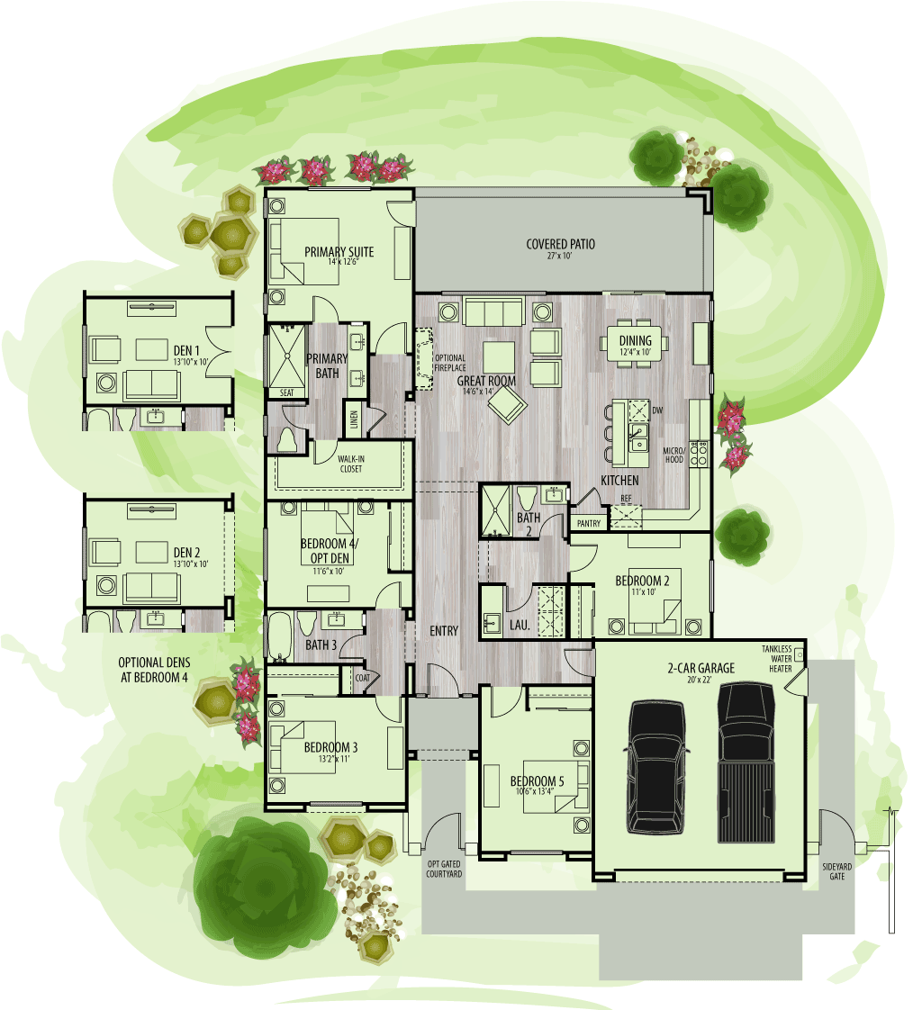 footprint of floor plan for Residence 2Y.