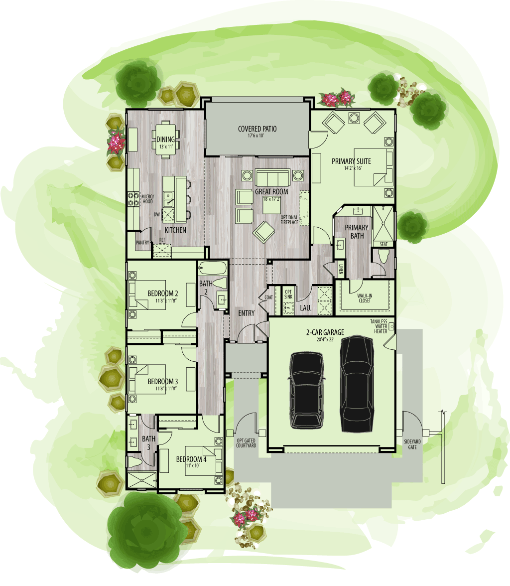 footprint of floor plan for Residence 3.
