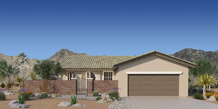 Front of plan 1A with optional courtyard shown.