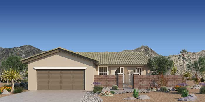 artist rendering of plan 1a reverse with optional courtyard shown.